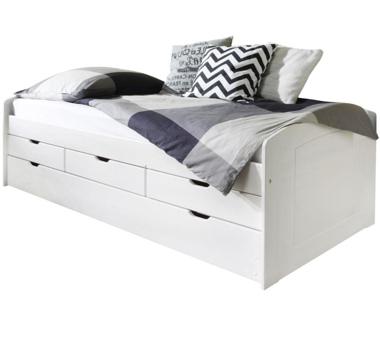 Односпальная кровать B022 с ящиками и дополнительным спальным местом деревянная белый ТМ Mobler