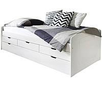 Односпальная кровать B022 с ящиками и дополнительным спальным местом деревянная белый ТМ Mobler, фото 1