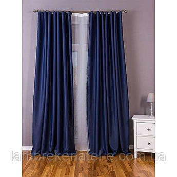 Готовые шторы в спальню блэкаут синий цвет