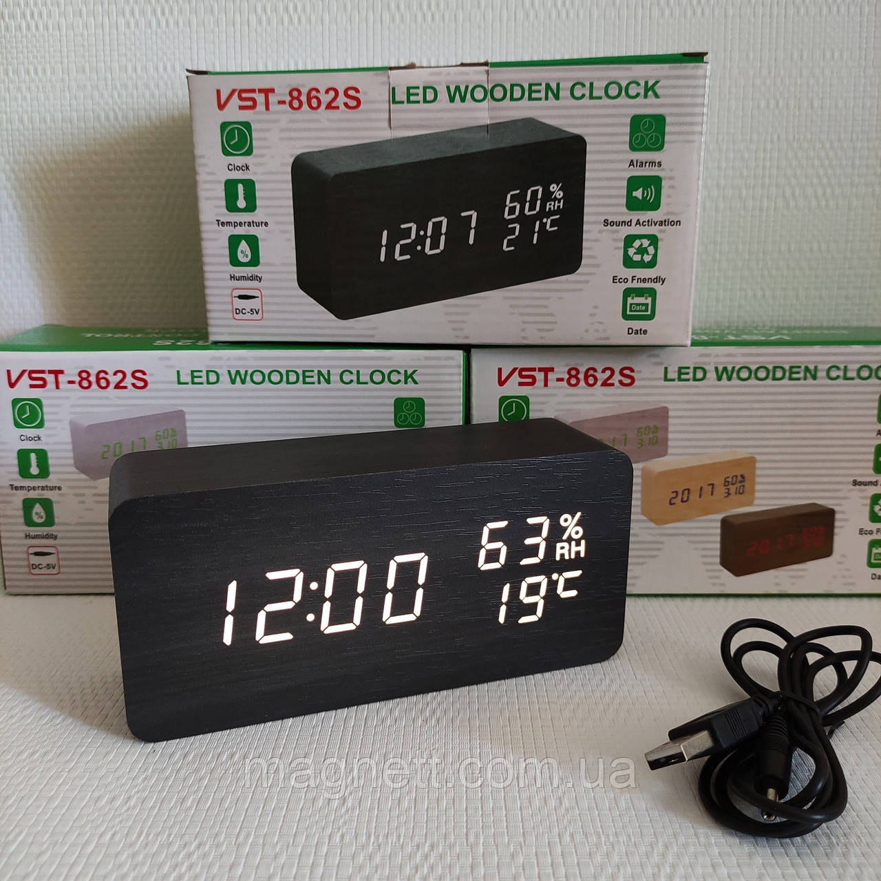 Электронные часы VST-862S в деревянном корпусе с температурой и датчиком влажности