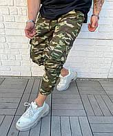 Джинсы карго на манжетах джоггеры камуляжные стильные на резинках весна чоловічий одяг комуфляжні штани