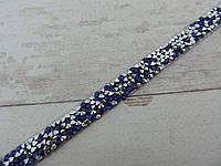 Страхова смужка на силіконі 1х40 см, срібло + сині камені.