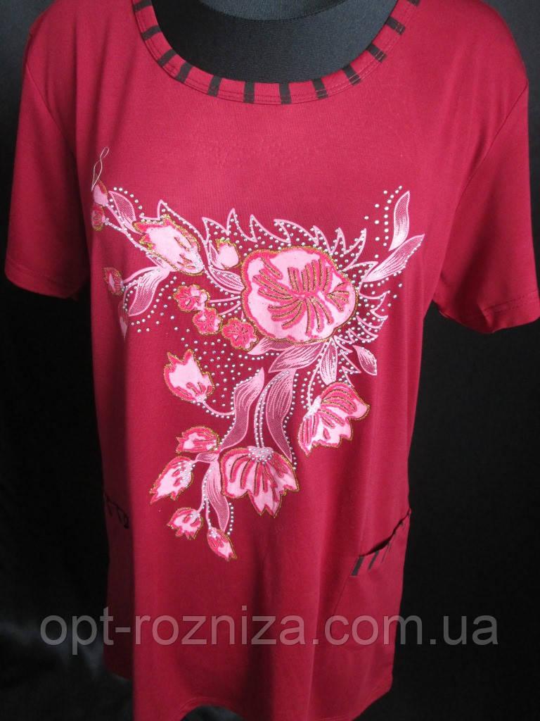 Удлиненная женская футболка с карманами