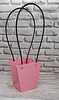 Сумка-пакет 12х12,5 см рожева з коричневими ручками.