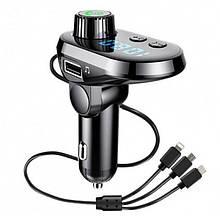 Автомобильный FM трансмиттер модулятор Q15 Bluetooth Чёрный
