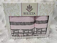 Набор махровых полотенец  Пенье 50*90 и 70*140 TM BELIZZA Турция Grecee пудра