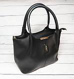 Женская стильная сумка из кожзаменителя, цвет черный, фото 3
