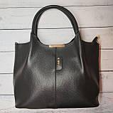 Женская стильная сумка из кожзаменителя, цвет черный, фото 4