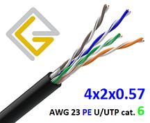 Кабель сетевой U/UTP-cat.6 без экрана AWG23 PE 4х2х057 для наружной прокладки