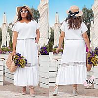 Романтичное летнее льняное батальное платье с кружевом. 3 цвета., фото 1