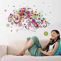 """Виниловые наклейки на стену,  окна, двери, витрины  """"девушка в цветах"""" 56см*85см (лист 50*70см), фото 3"""