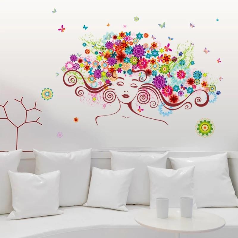 """Виниловые наклейки на стену,  окна, двери, витрины  """"девушка в цветах"""" 56см*85см (лист 50*70см)"""