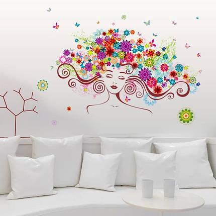 """Виниловые наклейки на стену,  окна, двери, витрины  """"девушка в цветах"""" 56см*85см (лист 50*70см), фото 2"""