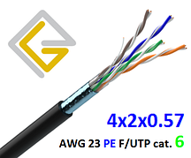 Кабель сетевой в экране F/UTP-cat.6 AWG23 PE 4х2х057 для наружной прокладки