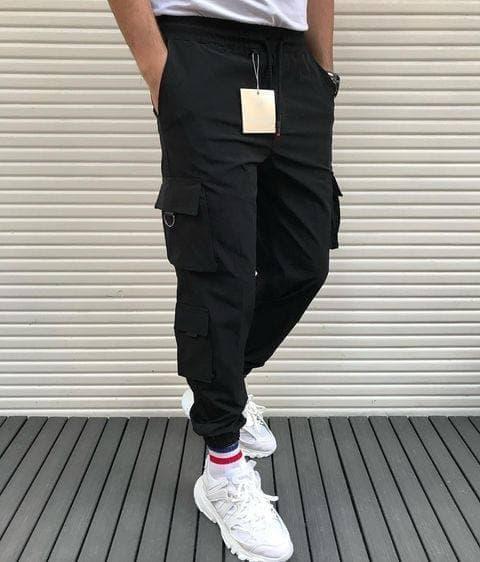 Чоловічі штани спортивні чорні, з накладними кишенями