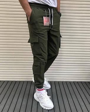 Чоловічі штани спортивні чорні, з накладними кишенями, фото 2