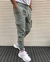 Чоловічі штани спортивні чорні, з накладними кишенями, фото 3