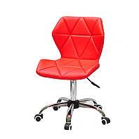 Червоне крісло з еко-шкіри на коліщатках з хромованим підставі Torino CH-Office для роботи, сфери послуг