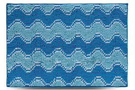 Коврик для ванной 55x80 см голубой Волна Dariana D-6609
