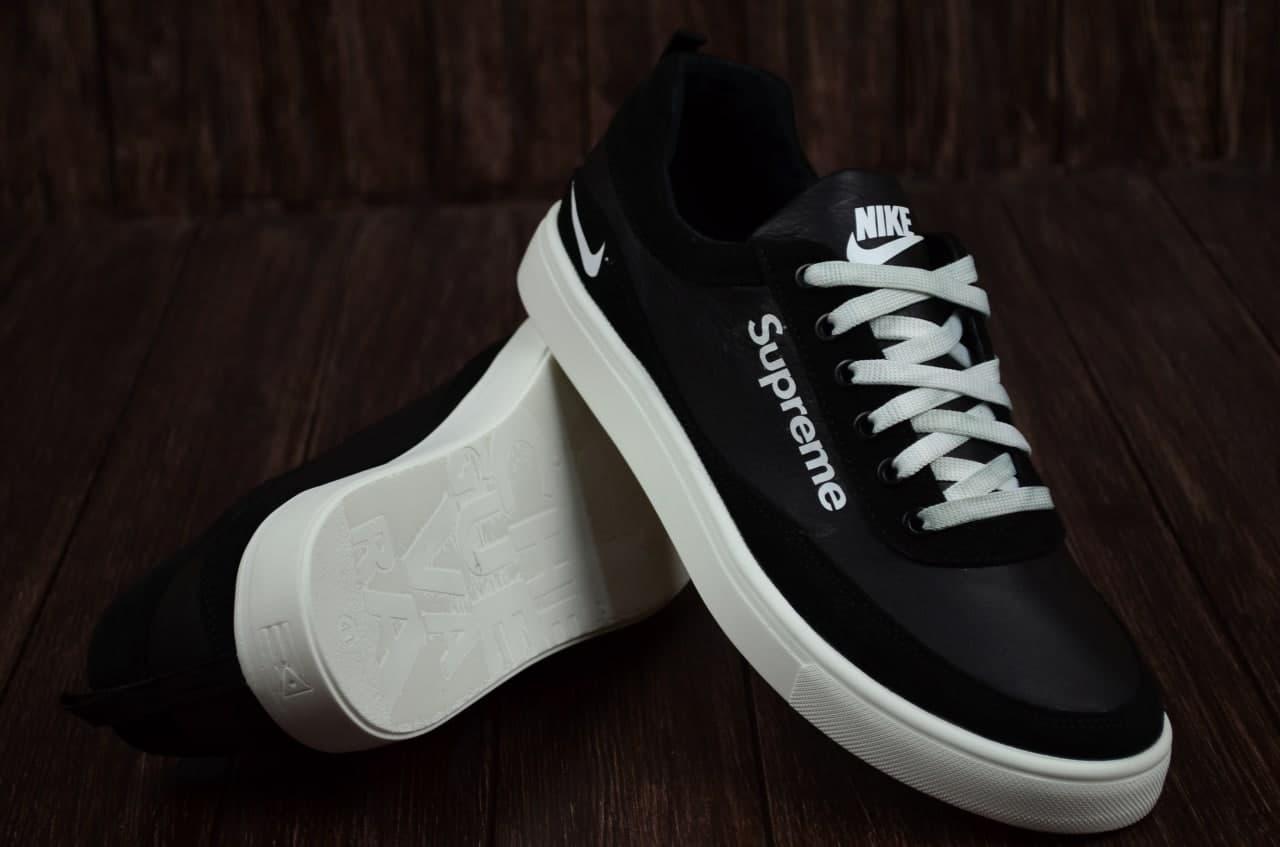 Чоловічі шкіряні кросівки Nike чорні на білій підошві