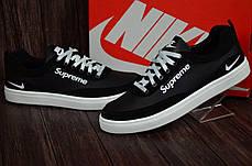 Чоловічі шкіряні кросівки Nike чорні на білій підошві, фото 2