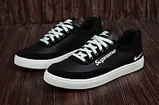 Чоловічі шкіряні кросівки Nike чорні на білій підошві, фото 3