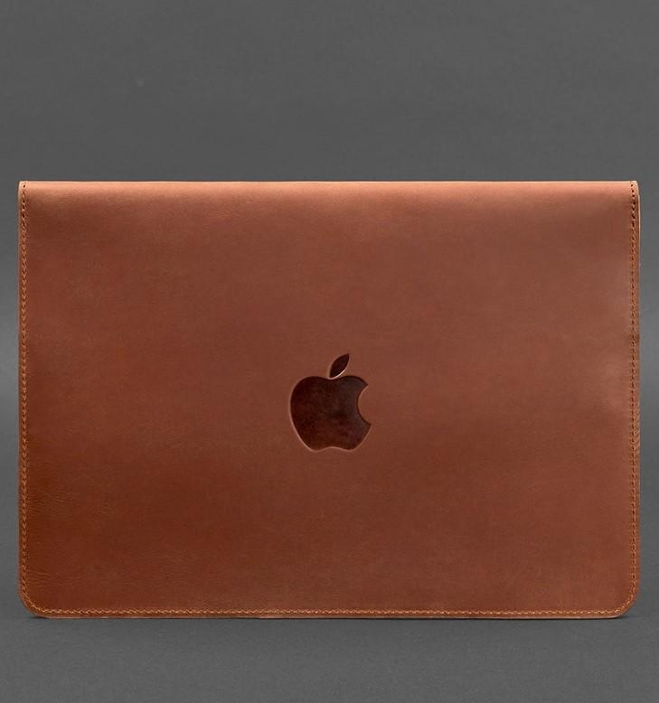 Чехол-конверт кожаный на магнитах для MacBook Pro 15-16'' светло-коричневый