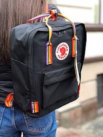 Чорний місткий рюкзак міський Kanken