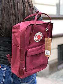 Бордовий місткий рюкзак міський Kanken
