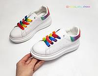 Детские кеды 32 36 для девочки белые яркие разноцветные кроссовки