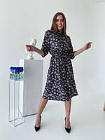 Весеннее,стильное ,красивое приталенное платье миди в цветочный принт .Хит этого сезона.Новое поступление