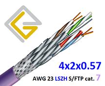 Кабель сетевой в экране S/FTP-cat.7 AWG23 LSZH негорючий 4х2х057 для внутренней прокладки