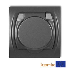 Розетка Schuko 16А 250В IP44 Karlik Logo 11LGPB-1sp графитовая с з/к крышкой заземлением одинарная встроенная