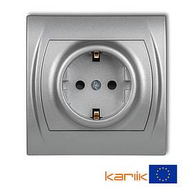 Розетка Schuko 16А 250В Karlik Logo 7LGP-1sp серебристая с з/к заземлением шторками одинарная встроенная