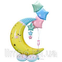 Фольгированные шары на выписку Спящий месяц со звездами