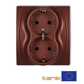 Розетка 2-я Schuko 16А 250В Karlik Logo 9LGP-2sp коричневая с з/к заземлением шторками двойная встроенная