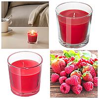 Ароматическая свеча в стакане IKEA SINNILIG 7,5 см х 25 часов горения декоративная ягодная СІНЛІГ ИКЕА