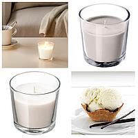 Ароматическая свеча в стакане IKEA SINNILIG 7,5 см х 25 часов горения декоративная ваниль ИКЕА СІНЛІГ