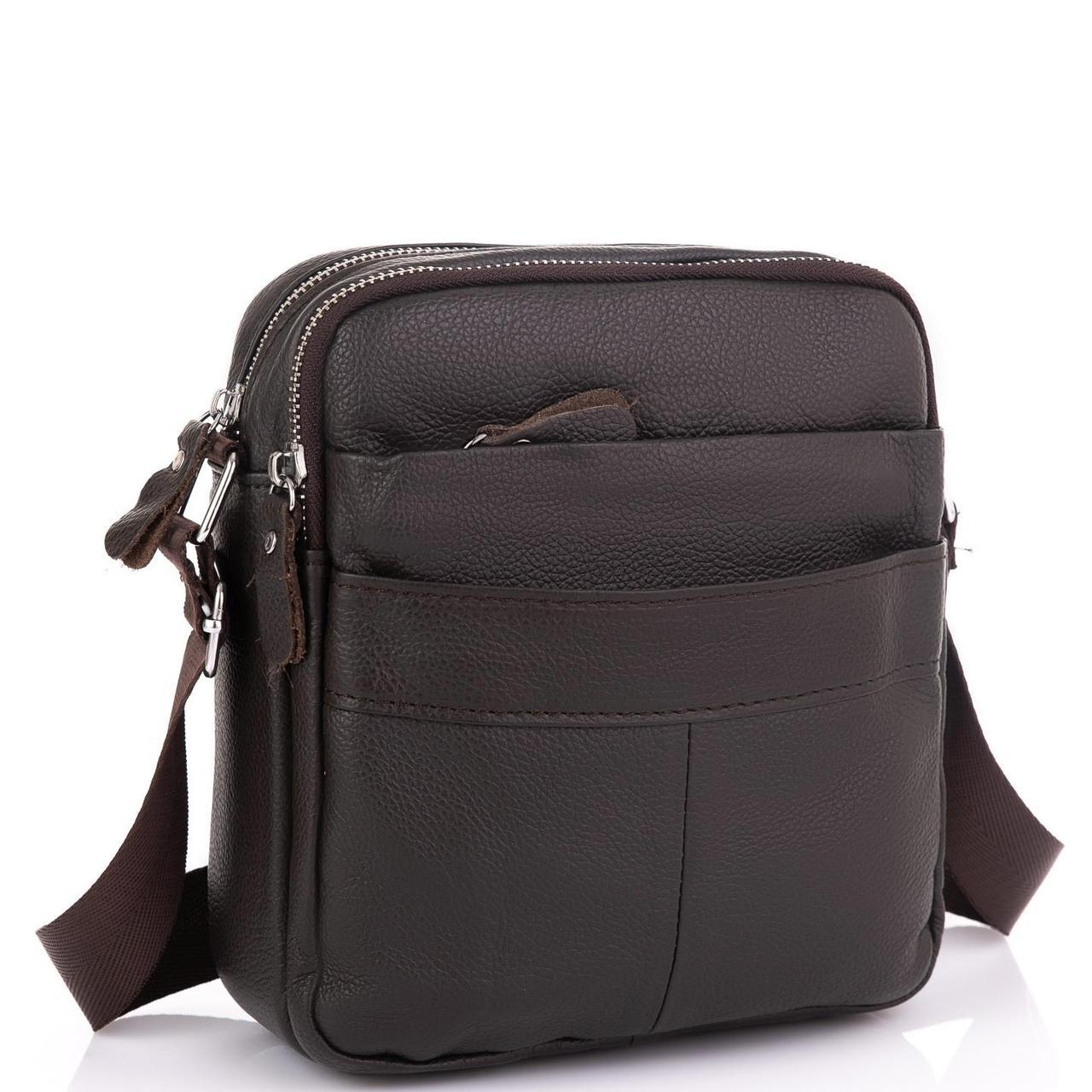 Кожаный мессенджер мужской коричневый Tiding Bag A25F-8017B