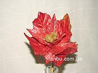 Красный декоративный цветок из плотной ткани с блестками (d=23 см)