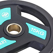 Блины (диски) полиуретановые с хватом и металлической втулкой d-51мм Zelart 2.5-20кг, фото 9