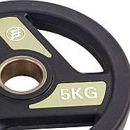 Блины (диски) полиуретановые с хватом и металлической втулкой d-51мм Zelart 2.5-20кг, фото 7