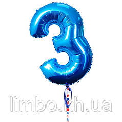 Шарик в виде цифры 3, цвет синий