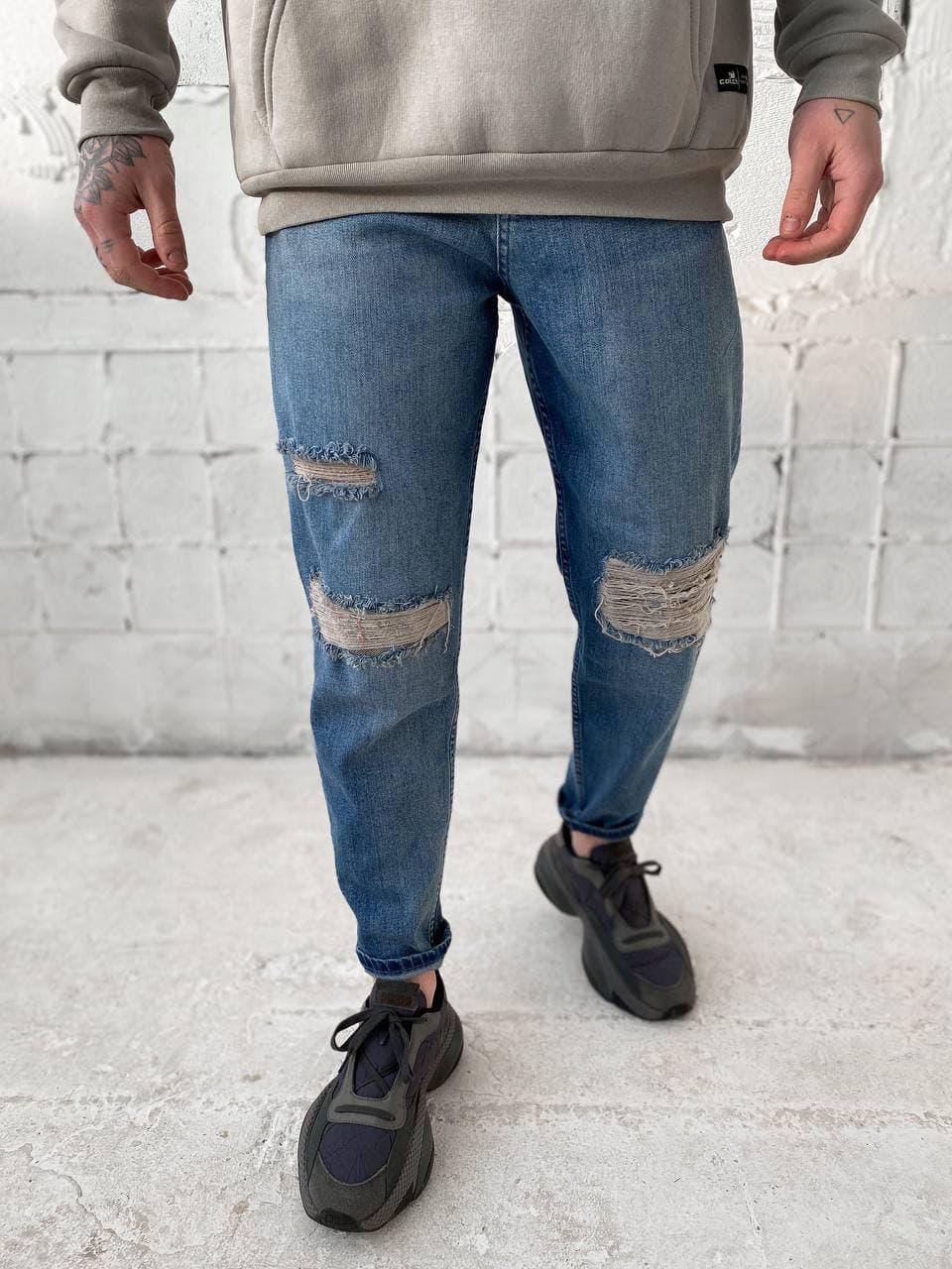 😝 Джинсы - Мужские широкие Джинсы / чоловічі джинси голубі з якісного коттону