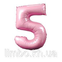 Фольгированные цифры с гелием в розовом цвете