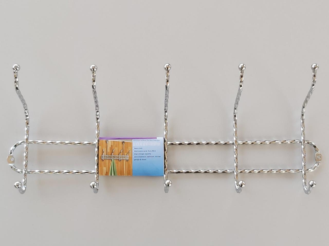 Длина 40,5 см. Вешалка настенная КНК5 металлическая хромированная на 5 крючков