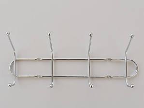 Длина 31 см. Вешалка настенная ВНТ4  металл хромированная на 4 крючка