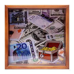 """Копилка для бумажных денег """"Мой новый капитал"""" коричневый 20х20 см."""