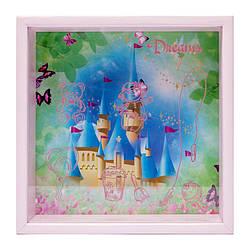 Копилка детская для девочек Замок для девочек розовая 20х20 см.