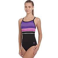 Купальник для плавания слитный женский ARENA MERRY AR-28076-50 размер 32-36-USA черный-синий-розовый 34